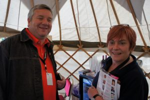 Picture of Stephen Wright and Susan Morrison in the yurt